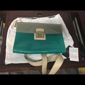 Furla Vinyl Cross Body Bag in Turquoise and Beige